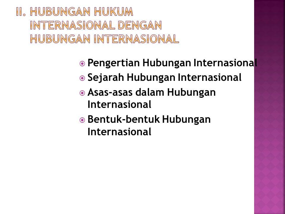 II. Hubungan Hukum Internasional dengan Hubungan Internasional