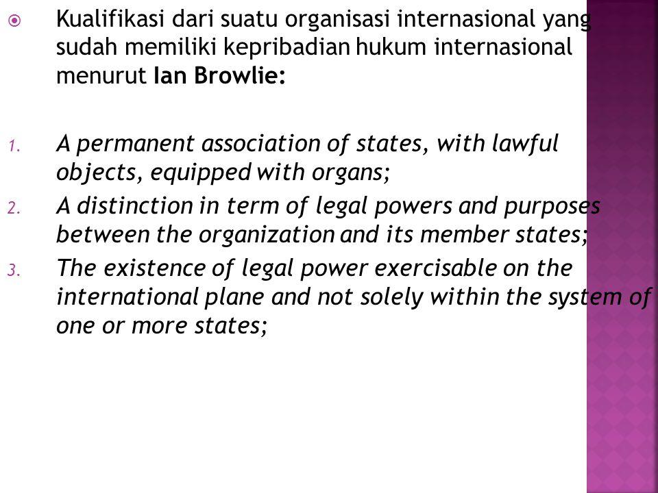 Kualifikasi dari suatu organisasi internasional yang sudah memiliki kepribadian hukum internasional menurut Ian Browlie: