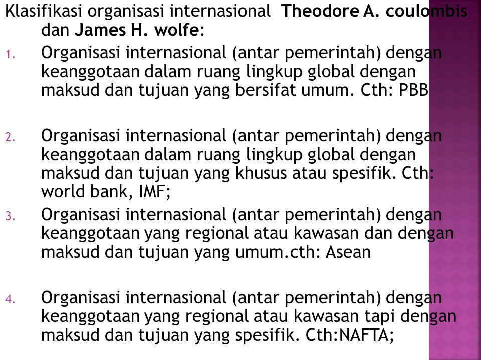 Klasifikasi organisasi internasional Theodore A. coulombis dan James H