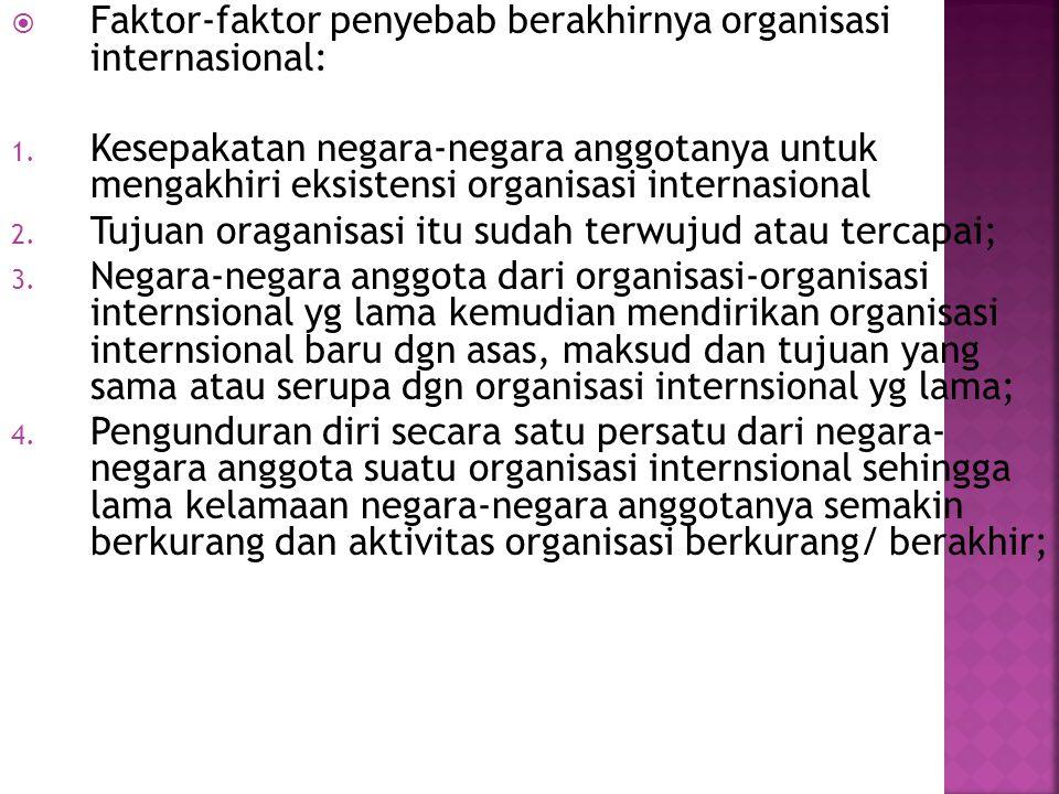 Faktor-faktor penyebab berakhirnya organisasi internasional: