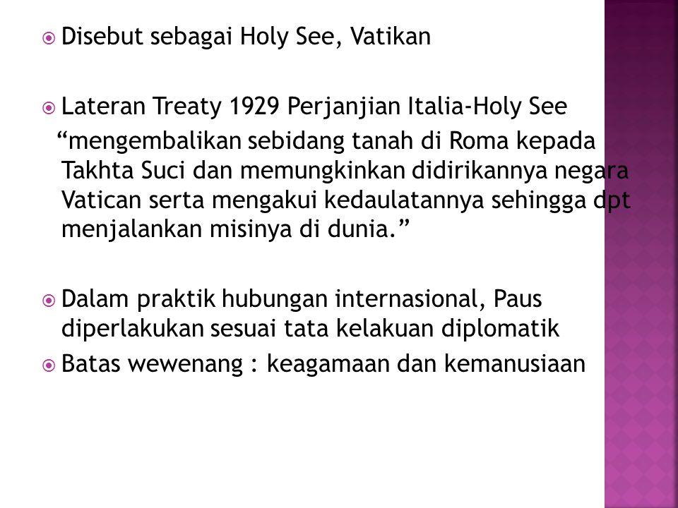 Disebut sebagai Holy See, Vatikan