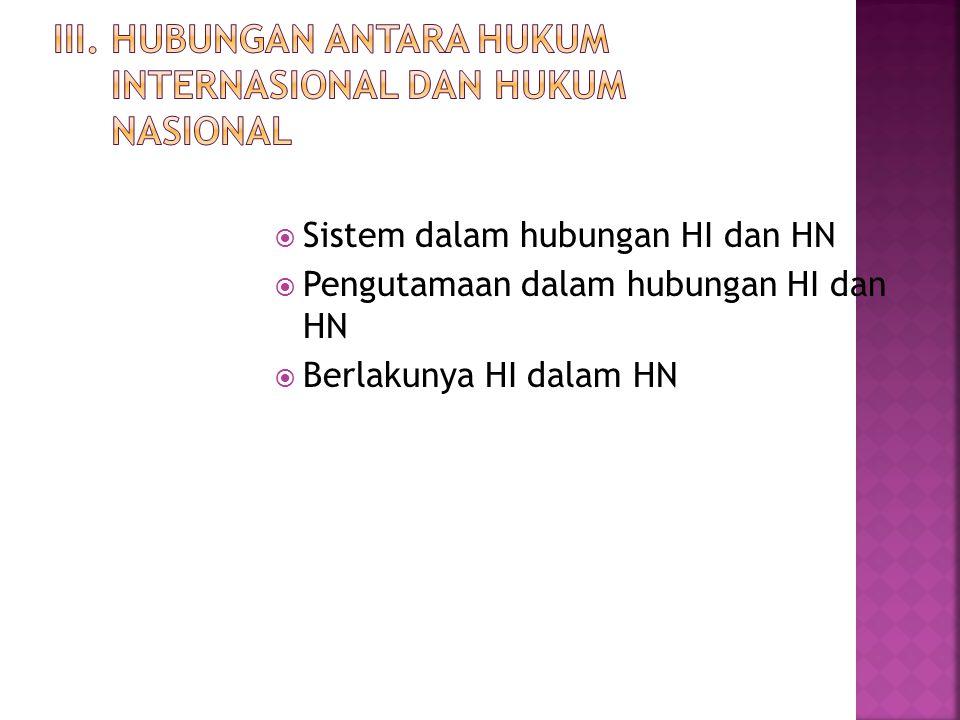III. Hubungan antara Hukum Internasional dan Hukum Nasional