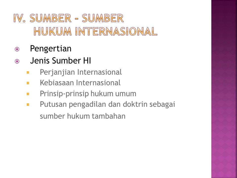 IV. Sumber - Sumber Hukum Internasional