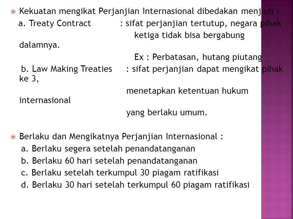Kekuatan mengikat Perjanjian Internasional dibedakan menjadi :