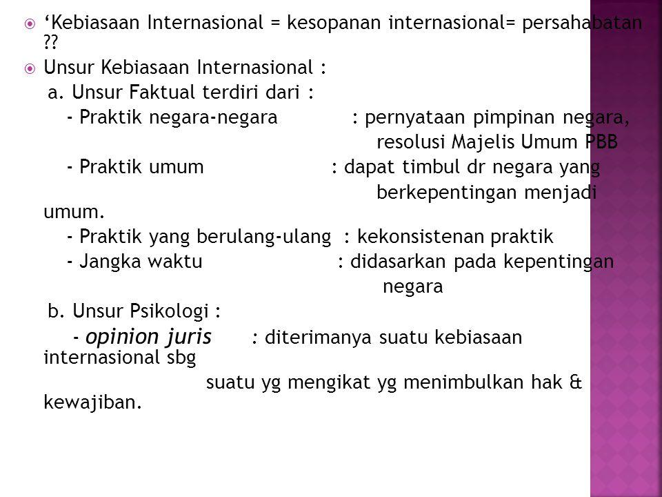 'Kebiasaan Internasional = kesopanan internasional= persahabatan