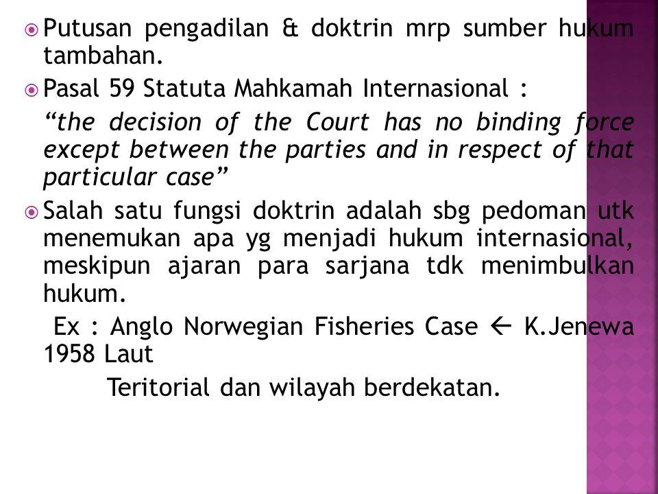 Putusan pengadilan & doktrin mrp sumber hukum tambahan.