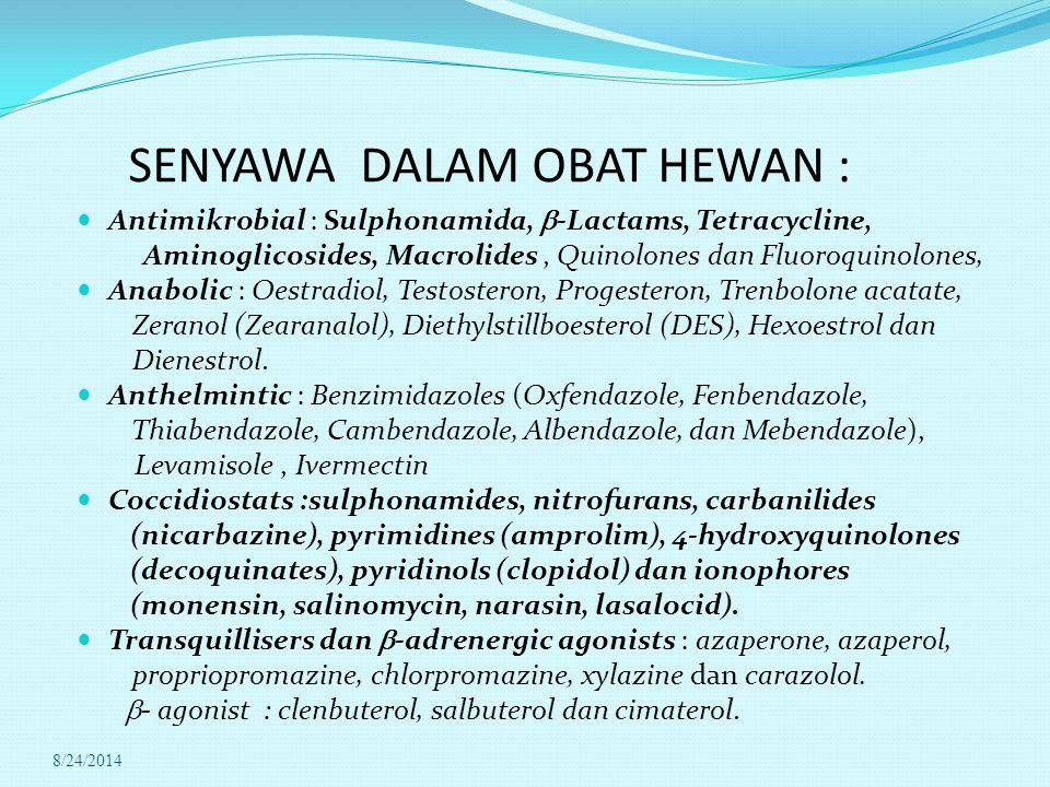 SENYAWA DALAM OBAT HEWAN :