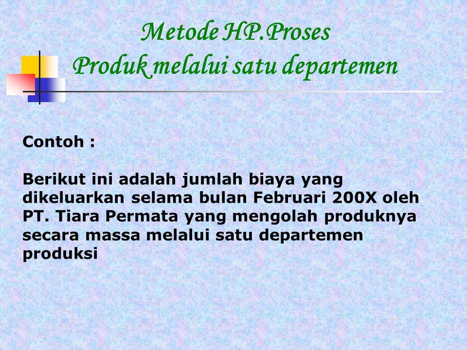 Metode HP.Proses Produk melalui satu departemen