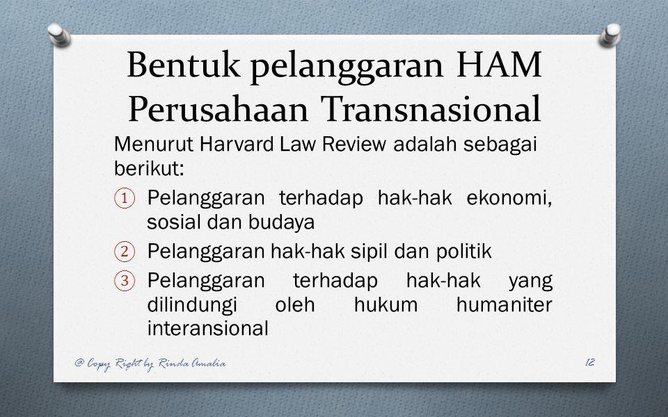 Bentuk pelanggaran HAM Perusahaan Transnasional