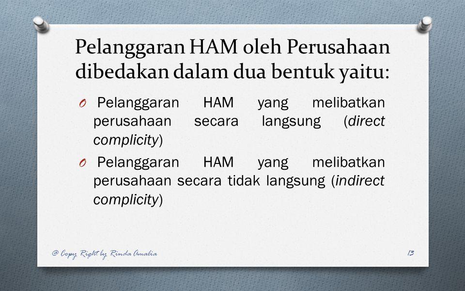 Pelanggaran HAM oleh Perusahaan dibedakan dalam dua bentuk yaitu: