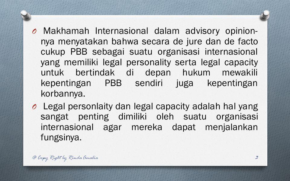 Makhamah Internasional dalam advisory opinion-nya menyatakan bahwa secara de jure dan de facto cukup PBB sebagai suatu organisasi internasional yang memiliki legal personality serta legal capacity untuk bertindak di depan hukum mewakili kepentingan PBB sendiri juga kepentingan korbannya.