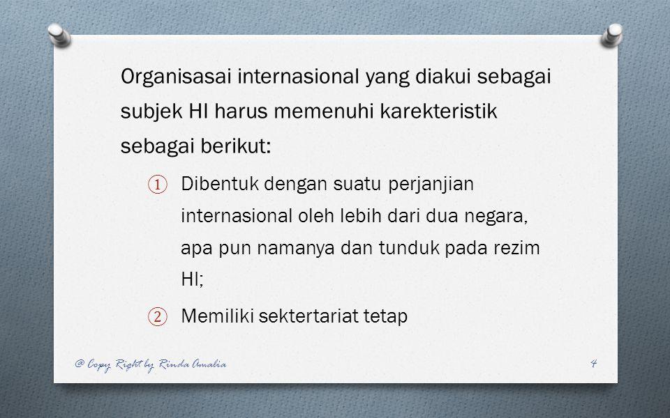 Organisasai internasional yang diakui sebagai subjek HI harus memenuhi karekteristik sebagai berikut: