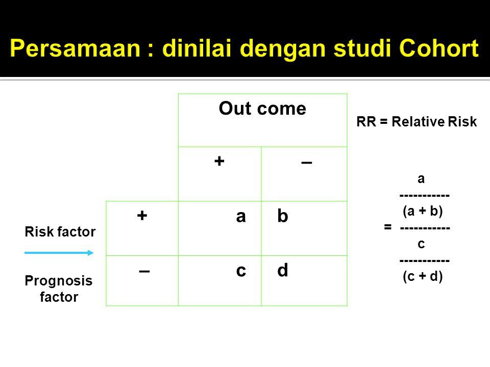 Persamaan : dinilai dengan studi Cohort