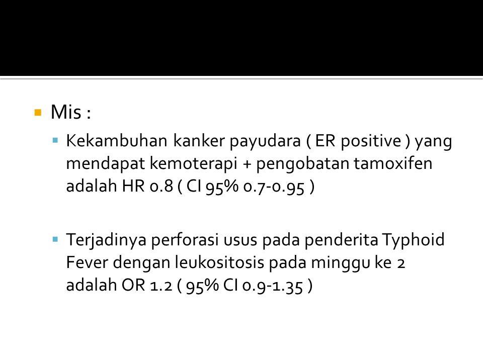 Mis : Kekambuhan kanker payudara ( ER positive ) yang mendapat kemoterapi + pengobatan tamoxifen adalah HR 0.8 ( CI 95% 0.7-0.95 )