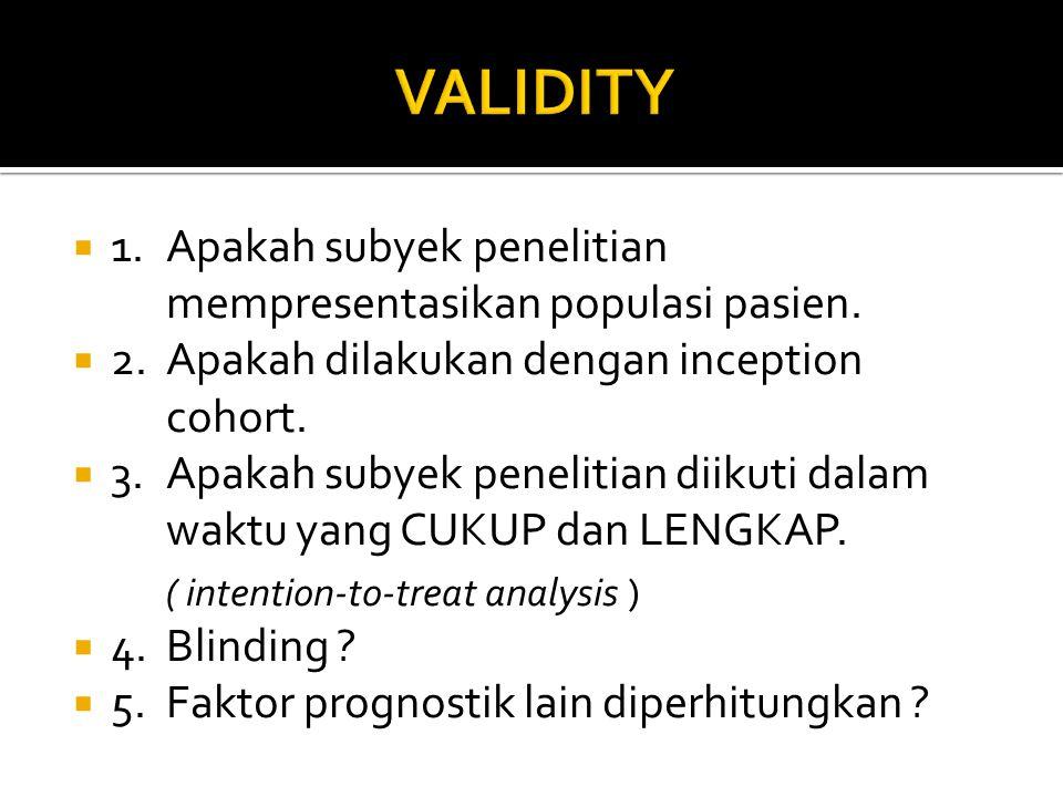 VALIDITY 1. Apakah subyek penelitian mempresentasikan populasi pasien.