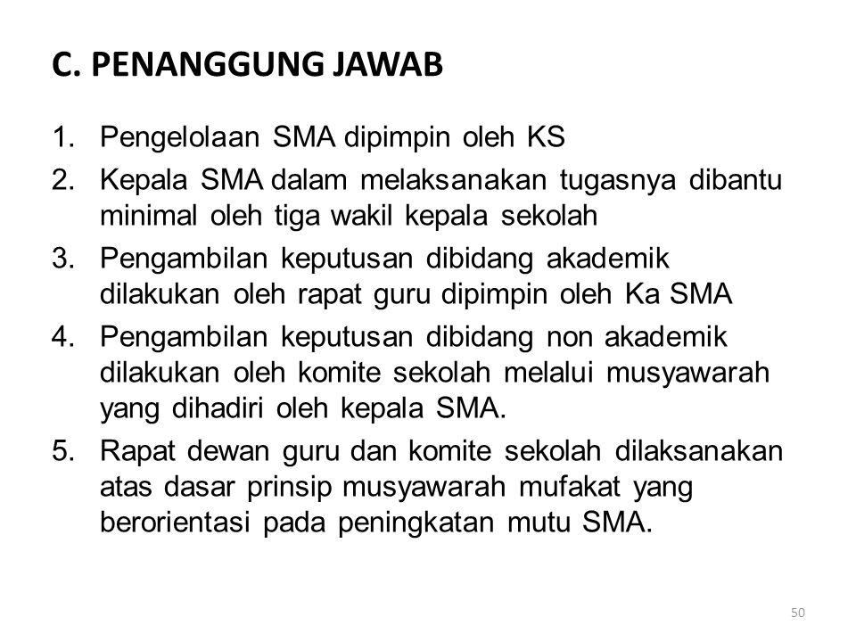 C. PENANGGUNG JAWAB Pengelolaan SMA dipimpin oleh KS