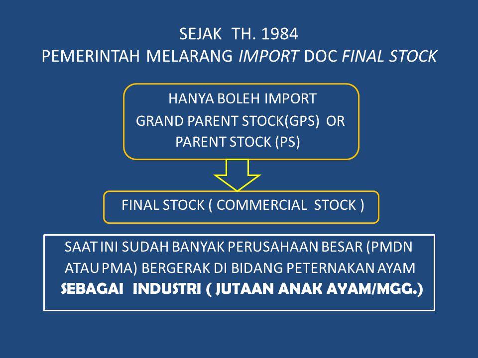 SEJAK TH. 1984 PEMERINTAH MELARANG IMPORT DOC FINAL STOCK