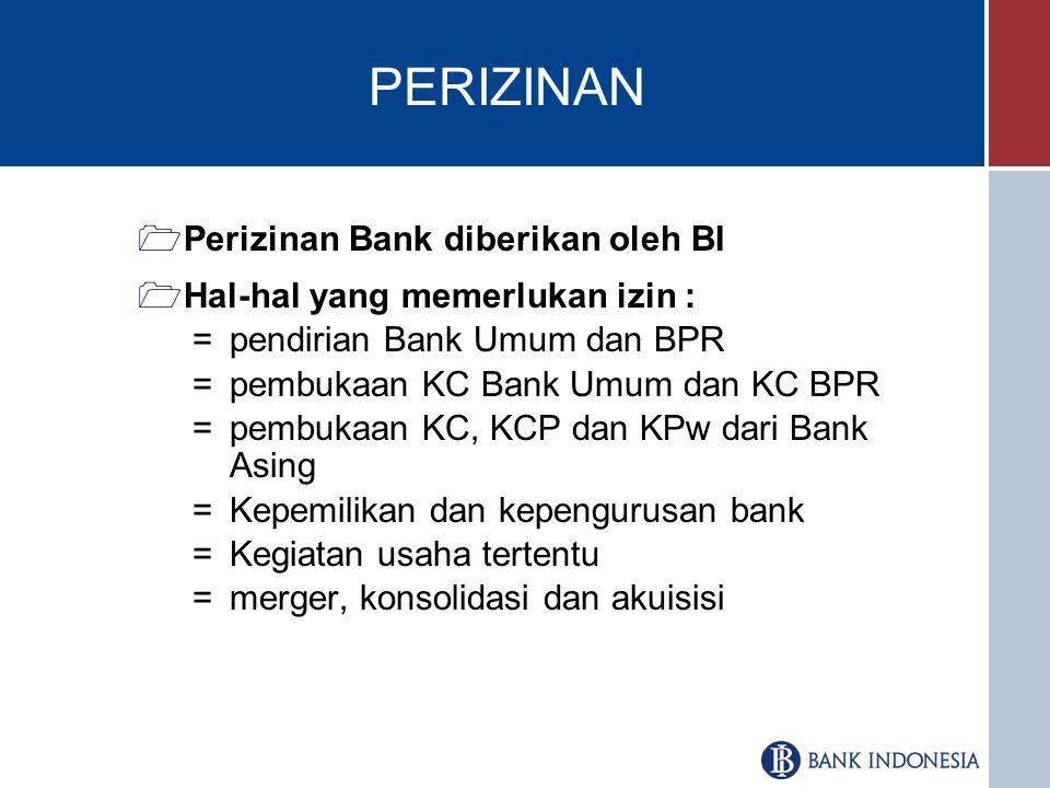 PERIZINAN Perizinan Bank diberikan oleh BI