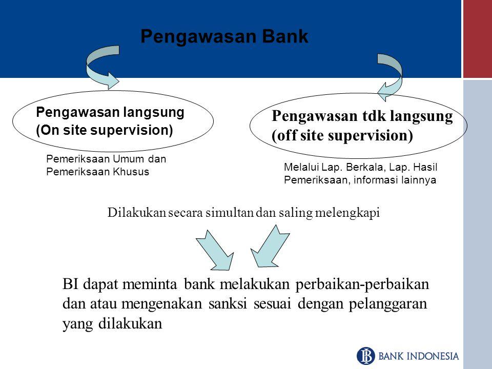 Pengawasan Bank Pengawasan tdk langsung (off site supervision)
