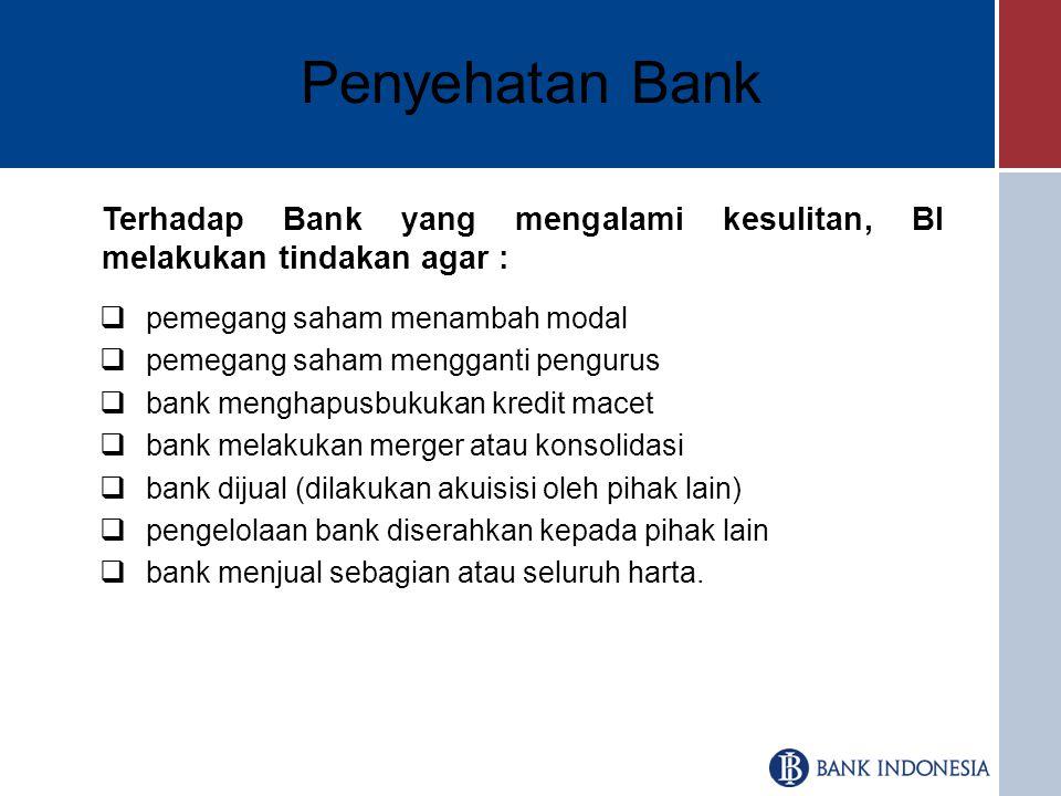 Penyehatan Bank Terhadap Bank yang mengalami kesulitan, BI melakukan tindakan agar : pemegang saham menambah modal.