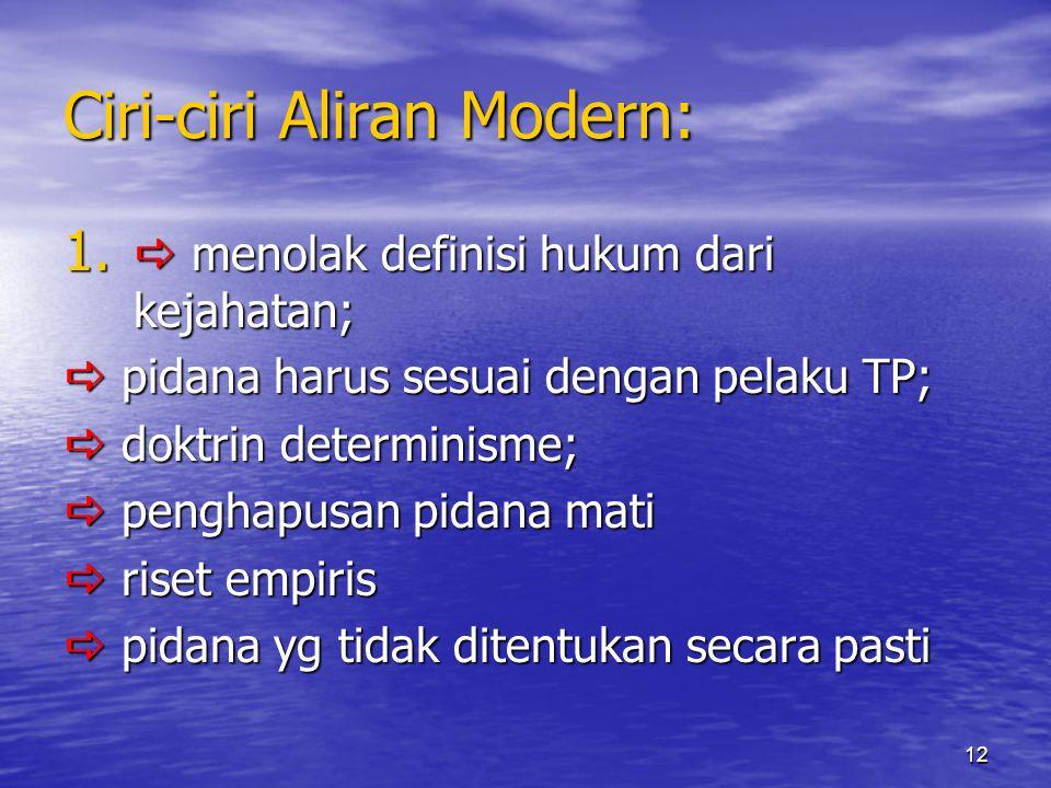 Ciri-ciri Aliran Modern: