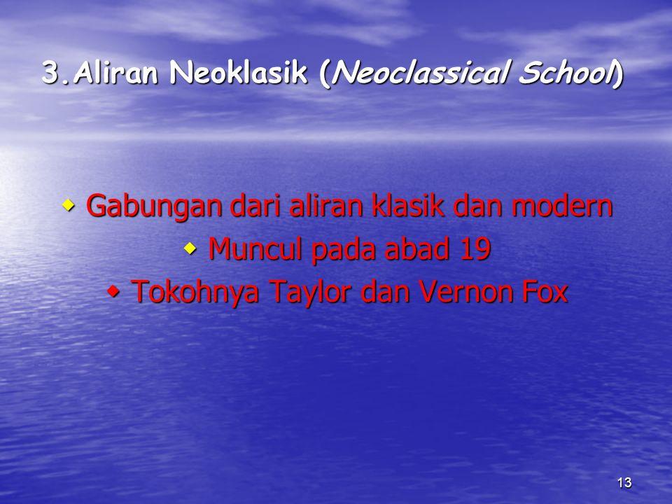 3.Aliran Neoklasik (Neoclassical School)