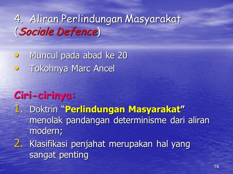 4. Aliran Perlindungan Masyarakat (Sociale Defence)
