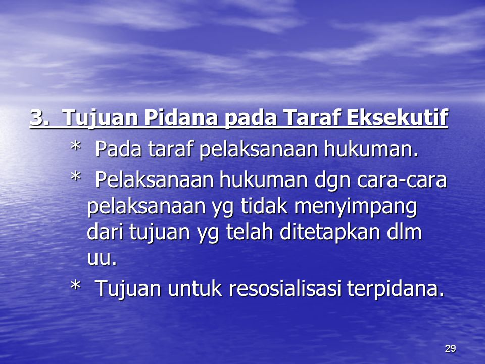 3. Tujuan Pidana pada Taraf Eksekutif