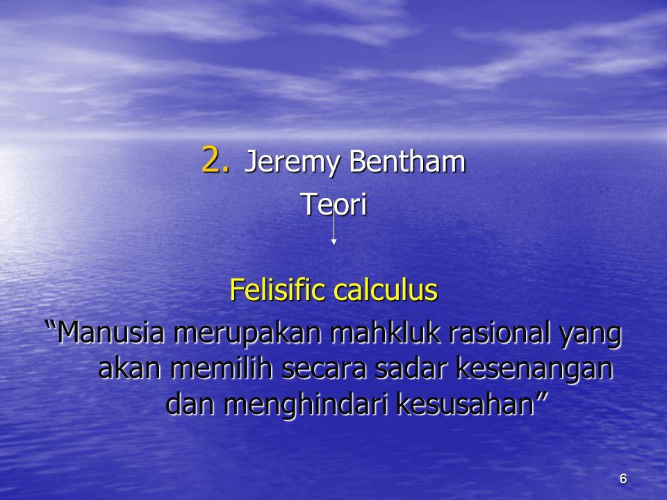 Jeremy Bentham Teori. Felisific calculus.