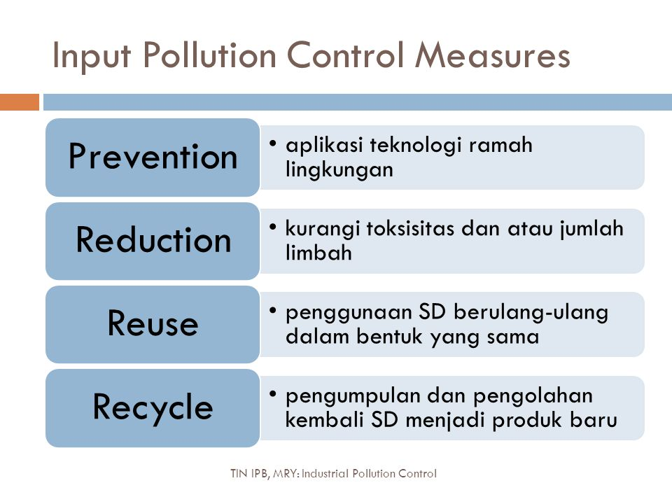 Input Pollution Control Measures