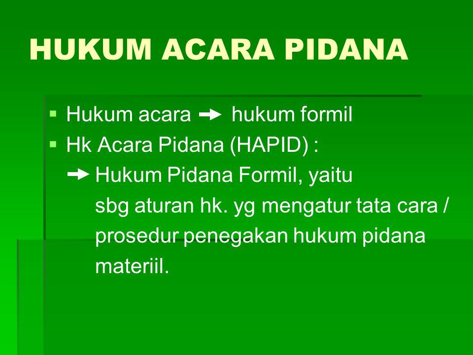 HUKUM ACARA PIDANA Hukum acara hukum formil Hk Acara Pidana (HAPID) :
