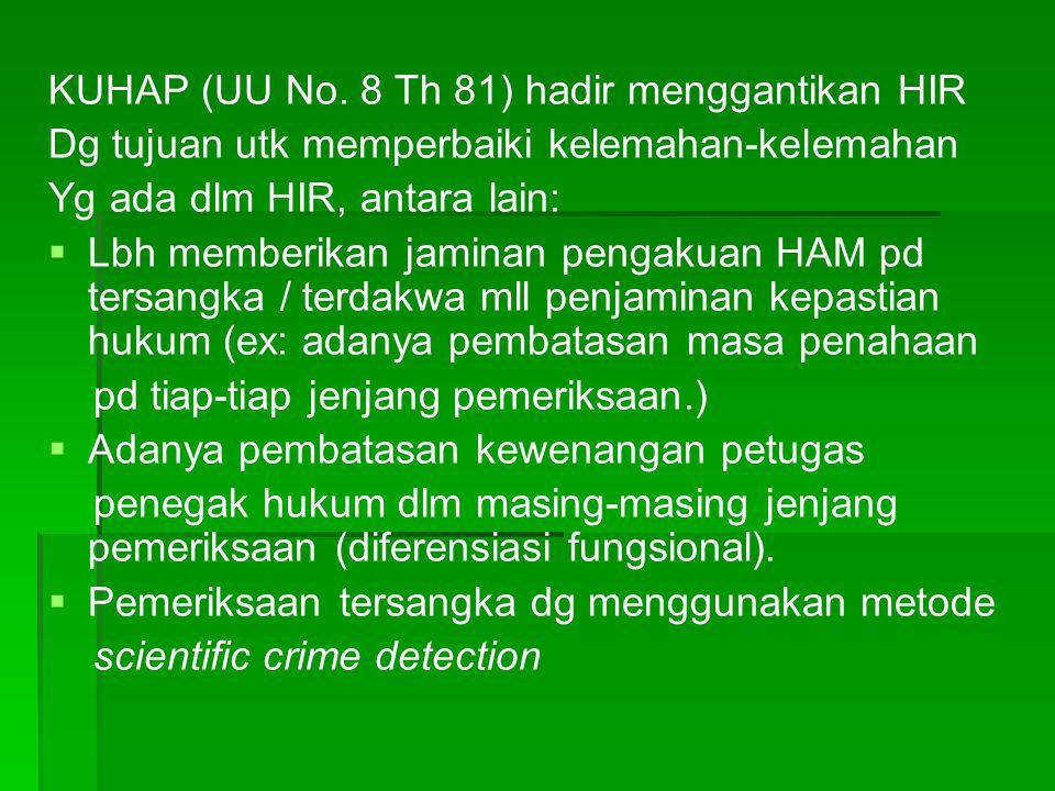 KUHAP (UU No. 8 Th 81) hadir menggantikan HIR