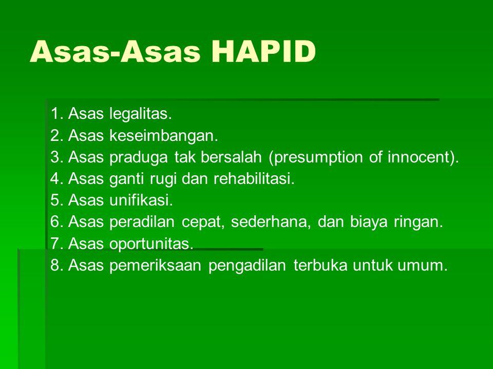 Asas-Asas HAPID 1. Asas legalitas. 2. Asas keseimbangan.