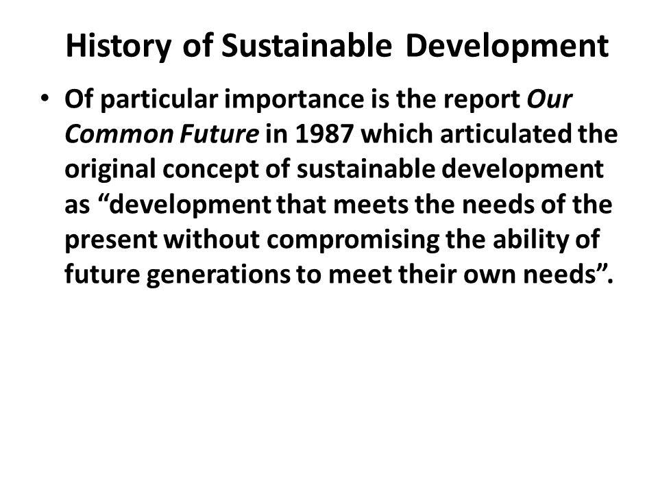 History of Sustainable Development