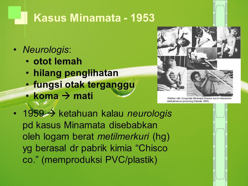 Kasus Minamata - 1953 Neurologis: otot lemah hilang penglihatan