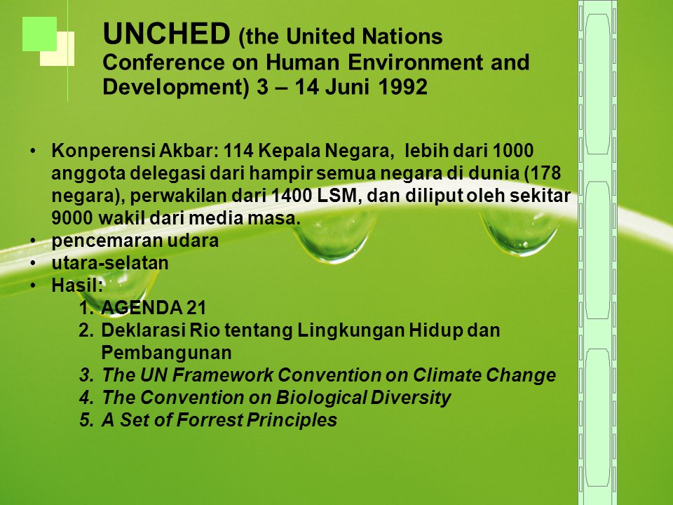 UNCHED (the United Nations Conference on Human Environment and Development) 3 – 14 Juni 1992