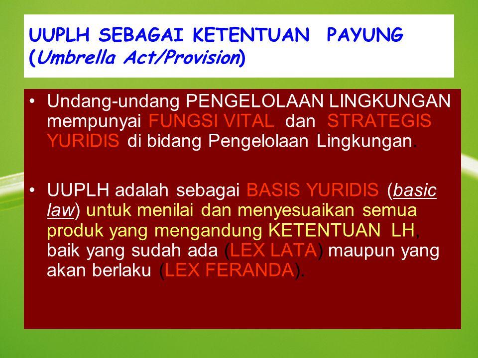 UUPLH SEBAGAI KETENTUAN PAYUNG (Umbrella Act/Provision)