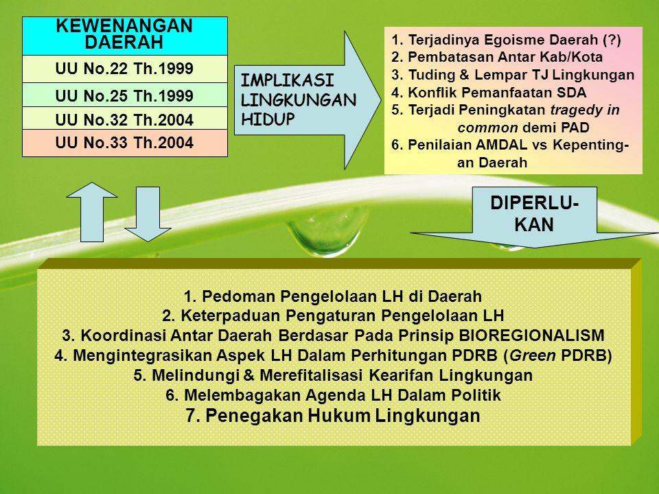 KEWENANGAN DAERAH DIPERLU- KAN 7. Penegakan Hukum Lingkungan