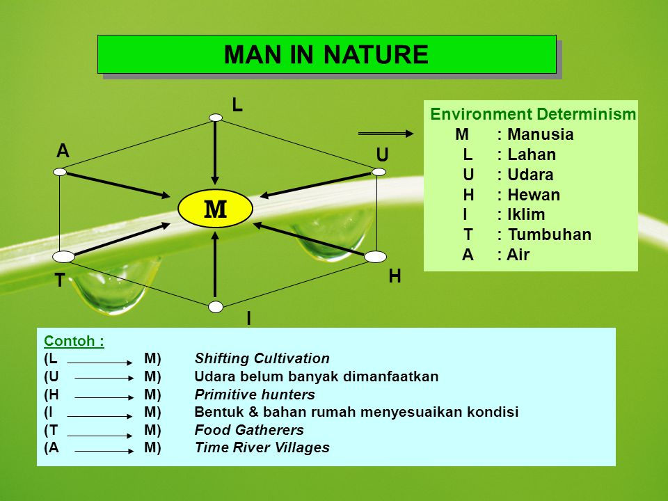 MAN IN NATURE M L A U H T I Environment Determinism L : Lahan