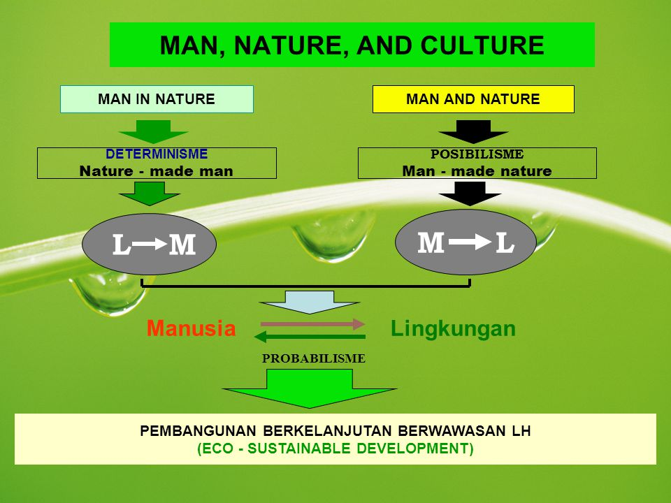 M L L M MAN, NATURE, AND CULTURE Manusia Lingkungan MAN IN NATURE