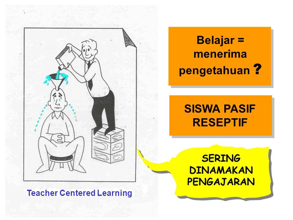 Belajar = menerima pengetahuan