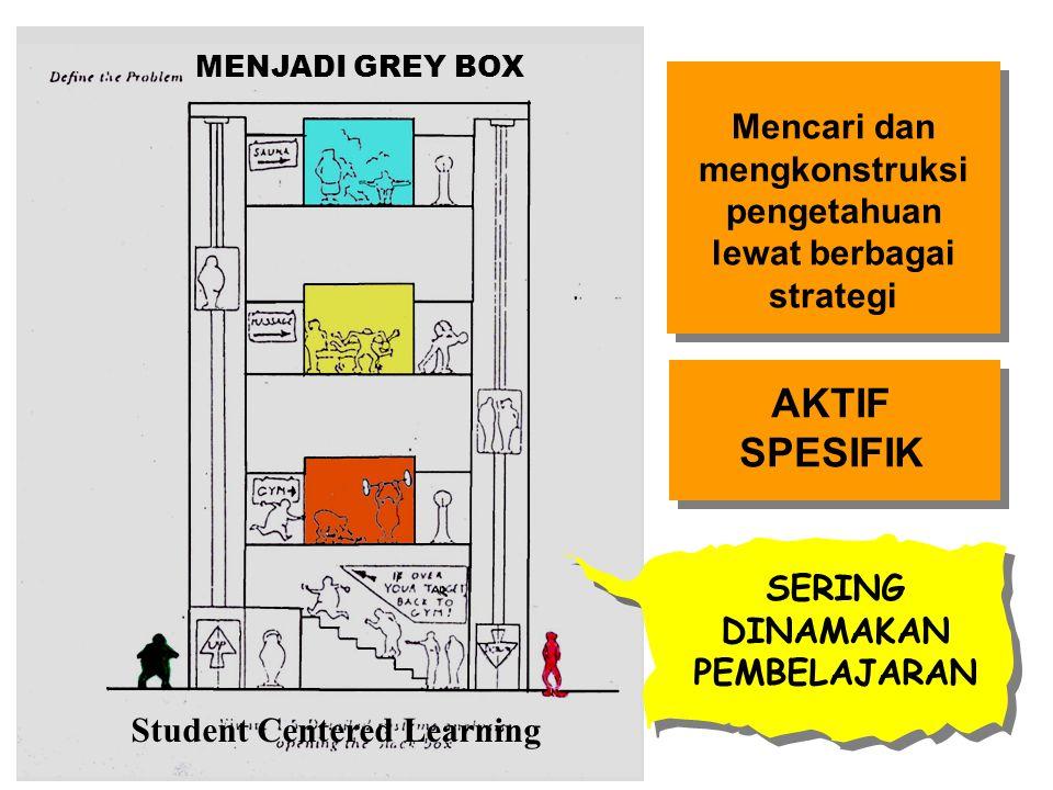MENJADI GREY BOX Mencari dan mengkonstruksi pengetahuan lewat berbagai strategi. AKTIF SPESIFIK. SERING DINAMAKAN PEMBELAJARAN.
