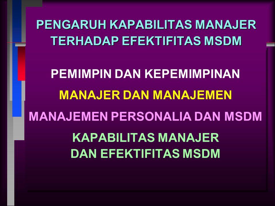 PENGARUH KAPABILITAS MANAJER TERHADAP EFEKTIFITAS MSDM