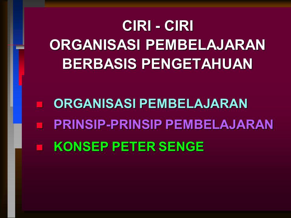 CIRI - CIRI ORGANISASI PEMBELAJARAN BERBASIS PENGETAHUAN