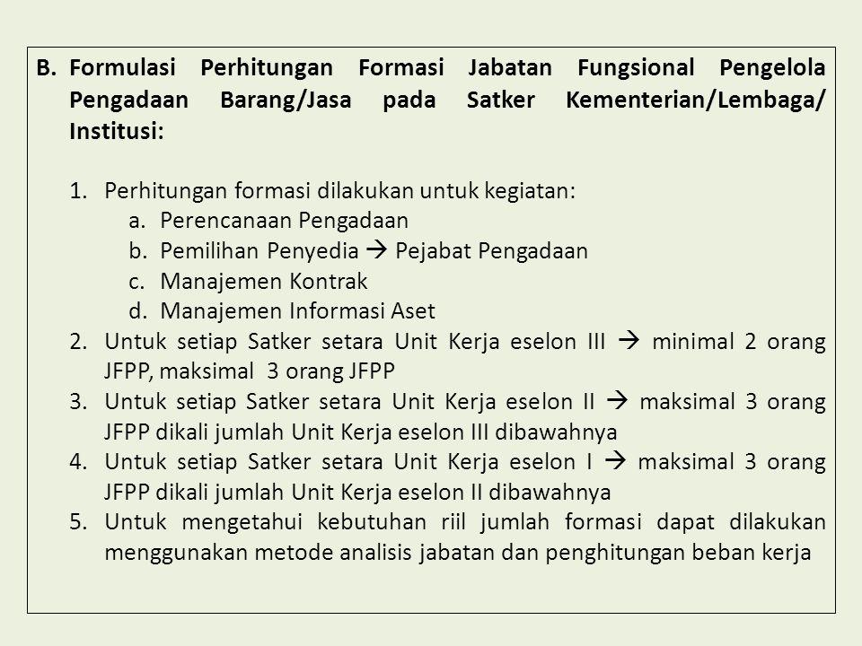 Formulasi Perhitungan Formasi Jabatan Fungsional Pengelola Pengadaan Barang/Jasa pada Satker Kementerian/Lembaga/ Institusi: