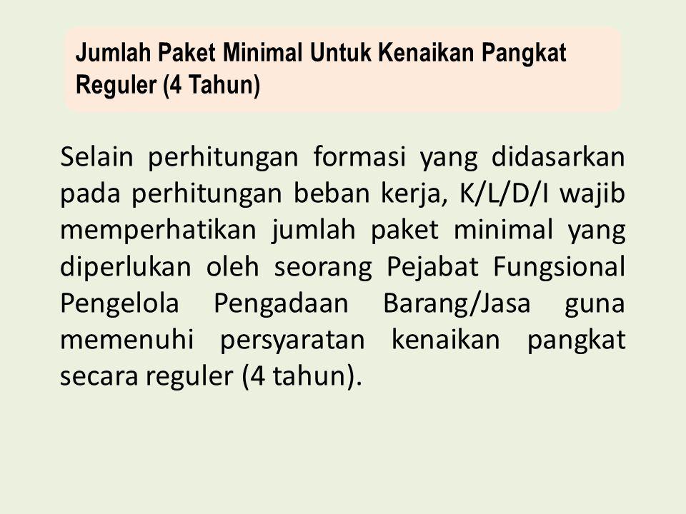 Jumlah Paket Minimal Untuk Kenaikan Pangkat Reguler (4 Tahun)