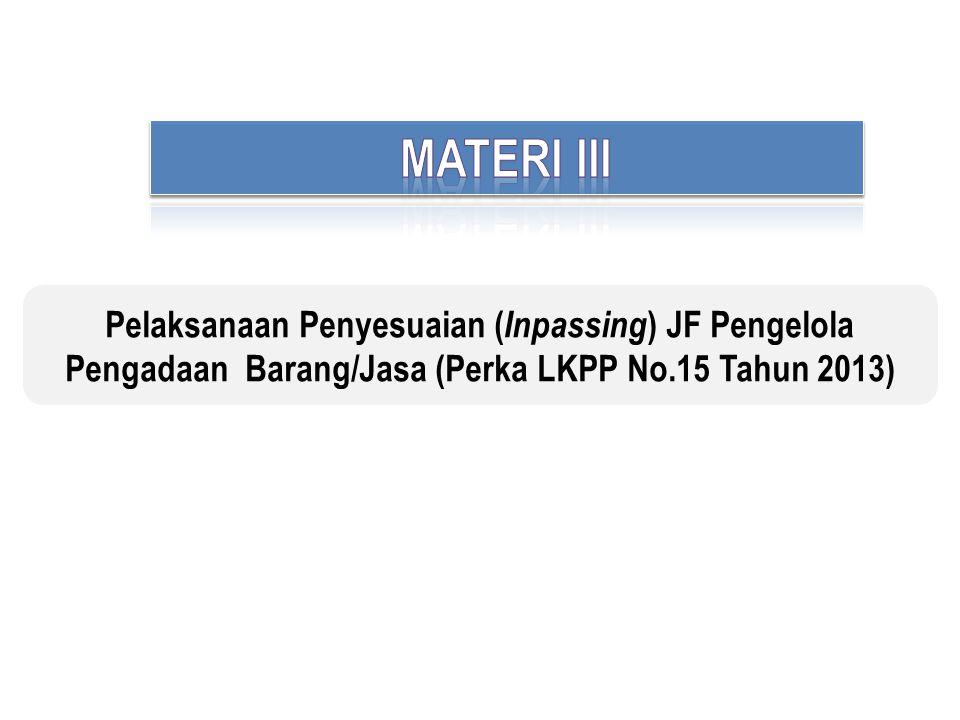 MATERI III Pelaksanaan Penyesuaian (Inpassing) JF Pengelola Pengadaan Barang/Jasa (Perka LKPP No.15 Tahun 2013)