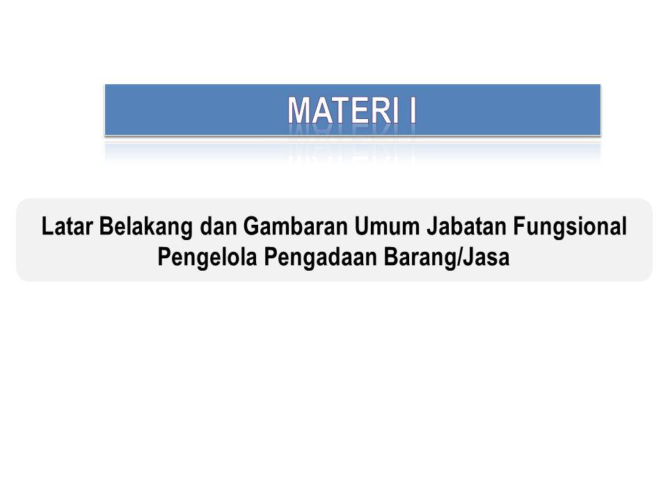 MATERI I Latar Belakang dan Gambaran Umum Jabatan Fungsional Pengelola Pengadaan Barang/Jasa