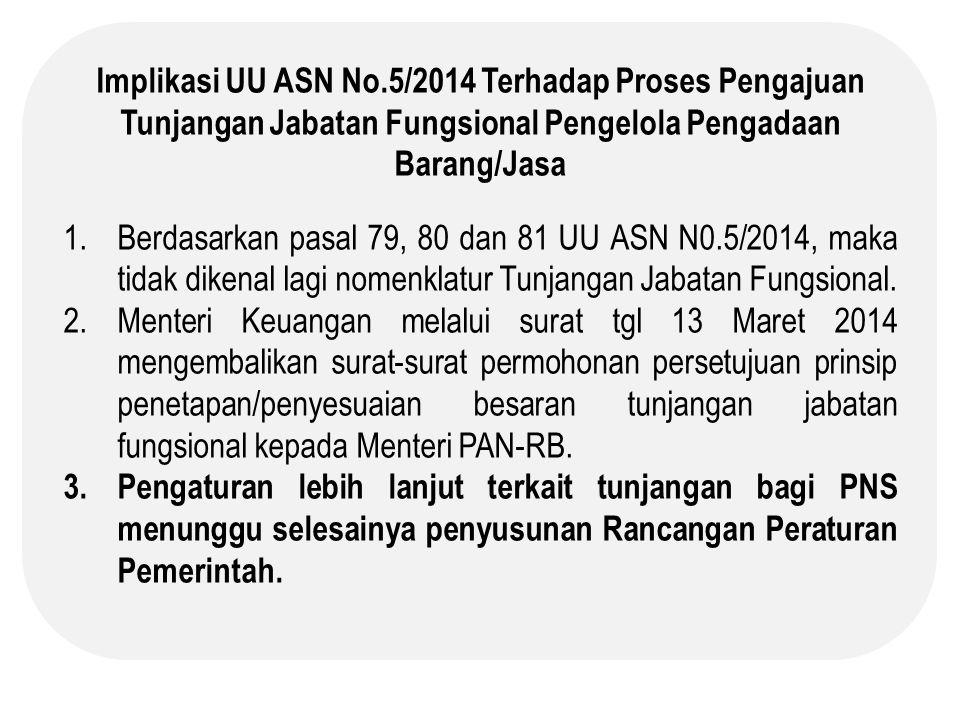 Implikasi UU ASN No.5/2014 Terhadap Proses Pengajuan Tunjangan Jabatan Fungsional Pengelola Pengadaan Barang/Jasa