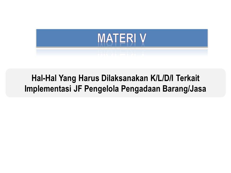 MATERI V Hal-Hal Yang Harus Dilaksanakan K/L/D/I Terkait Implementasi JF Pengelola Pengadaan Barang/Jasa.
